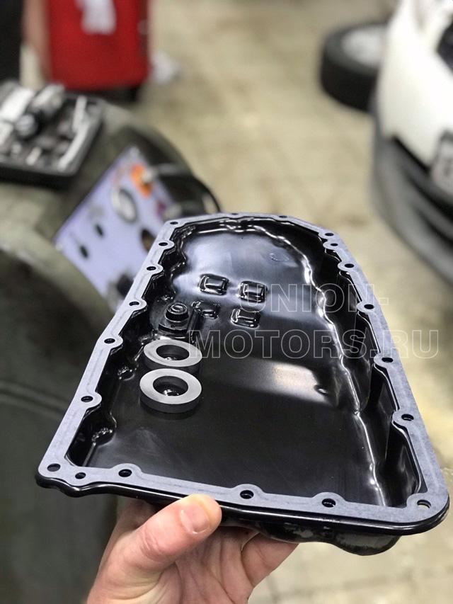 Чистый поддон АКПП с магнитами и новой прокладкой при полной замене масла АКПП Nissan/Infiniti